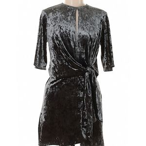 Zara Crushed Velvet Tie Front Draped Mini Dress S